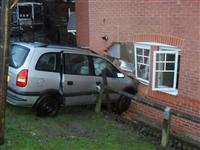 Road traffic collision involving a car and a building in Crewe
