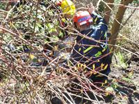 Firefighter and paramedic lowered to stabilise the casualty in embankment fall