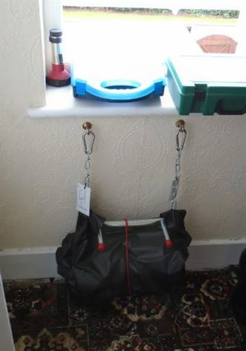 The rope ladder, folded up in its bag, which was intended as an escape route from an upper floor