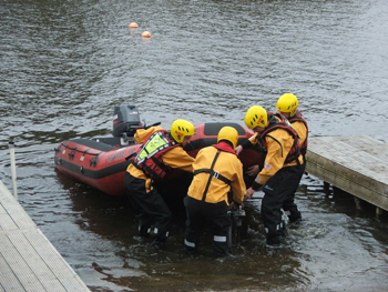The water rescue unit launching