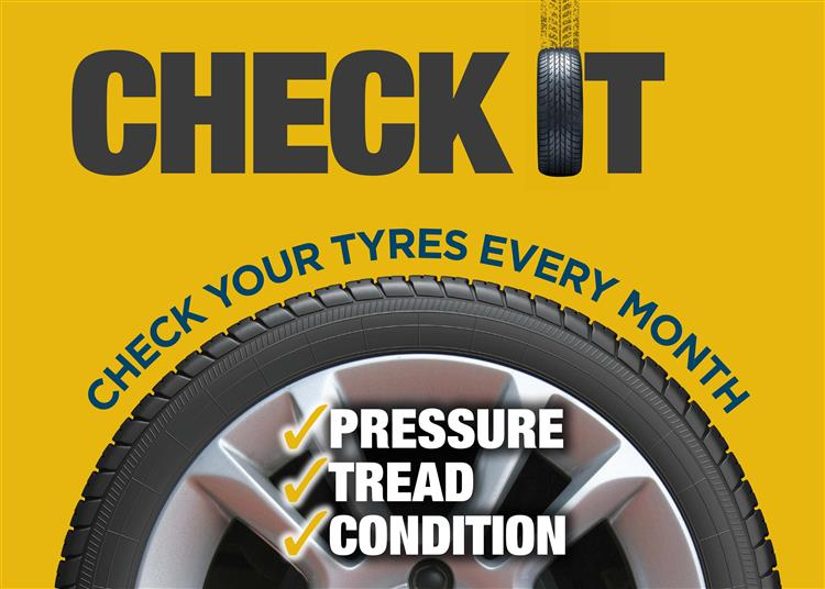 Check your tyres every month