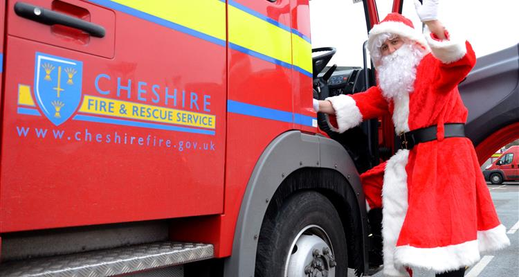 Santa and a fire engine
